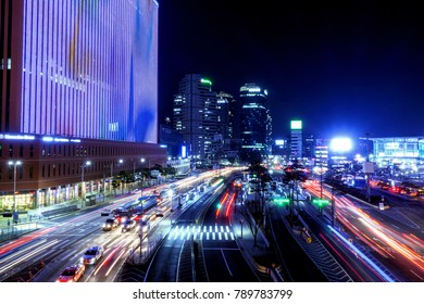 January 07, 2018 - Seoul, South Korea : Night view of Seoul in front of Seoul Station. This photo was taken on the Seoullo 7017.