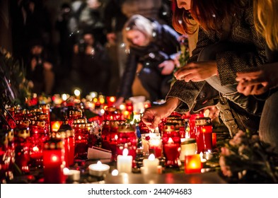 January 08 2015: gathering in front of France Embassy in Prague, Czech Republic, (in solidarity with the attack against Charlie Hebdo in Paris)
