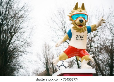 January 1, 2018: Rostov-on-Don. The official mascot of the 2018 FIFA World Cup and the FIFA Confederations Cup 2017. Wolf Zabivaka at the Theater Square in Rostov-on-Don.