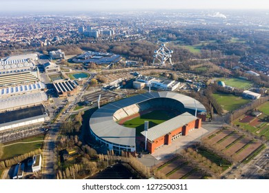 JANUARY 1, 2019, Brussels, Belgium : King Baudouin National Football and Rugby Stadium aerial view feat. The Atomium landmark building in city center Brussels, Belgium
