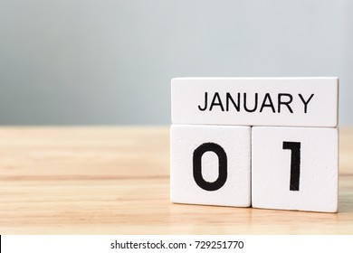January 1, Calendar wood block white on table, New year resolution and goals concept