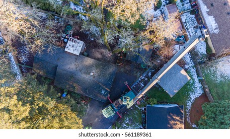 January 11, 2017. Eugene, Oregon, USA. Vertical, downward perspective of a large crane used in the removal of trees damaged in an ice storm.
