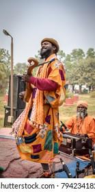 January 11,2018. A group of Indian folk singer ( baul)  perform at Shantiniketan, West bengal, India.