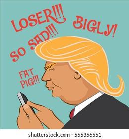 JANUARY 12, 2017: Illustrative editorial cartoon of Donald Trump using social media to comment.