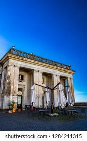 January 12, 2019 - Ariccia, Lazio, Italy - Ancient building in the monumental Piazza di Corte, by Gian Lorenzo Bernini and the Chigi family. Ariccia, Castelli Romani, Lazio, Italy.