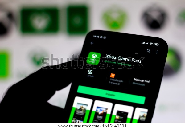 January 12, 2020, Brazil. In this photo illustration the Xbox Game Pass logo app is displayed on a smartphone.