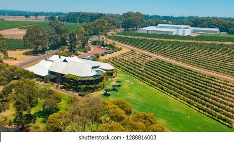 JANUARY 12,2019: Aerial image of Vasse Felix vineyard in Margaret River, Western Australia.