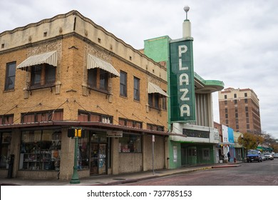January 13, 2016 Laredo, Texas, USA: street view of the Plaza theater built in 1950 and is currently closed