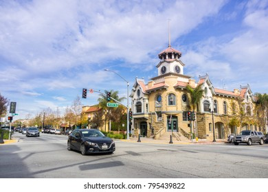 January 15, 2018 Gilroy / CA / USA - The Old City Hall building located in the city center which is town currently housing a restaurant