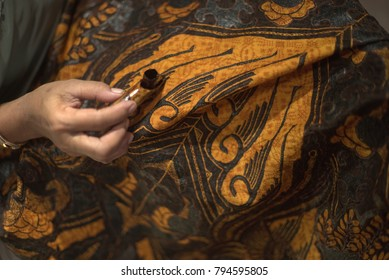 January 15 2018 Surakarta Indonesia : Close Up Hand Painting Batik on the Fabric. Batik Tulis in Solo Indonesia