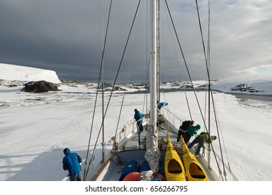 January 15th 2014: Sailing boat stuck in ice sheet in Antarctica
