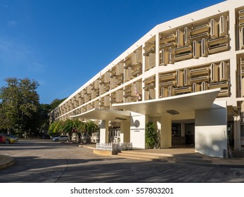January 15th 2017 Chiang Mai,Thailand : The block pattern design facade of building at Chiang Mai University on blue sky background