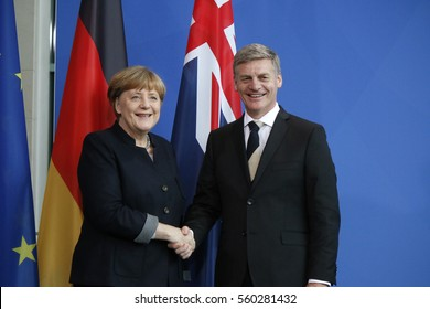 JANUARY 16, 2017 - BERLIN: Angela Merkel, Bill English - meeting of the German Chancellor with the Prime Minister of New Zealand in the Chanclery in Berlin.