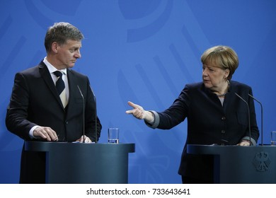 JANUARY 16, 2017 - BERLIN: Bill English, Angela Merkel - meeting of the German Chancellor with the Prime Minister of New Zealand in the Chanclery in Berlin.