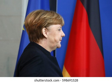JANUARY 16, 2017 - BERLIN:  German Chancellor Angela Merkel at a press conference after meeting of the with the Prime Minister of New Zealand in the Chanclery in Berlin.