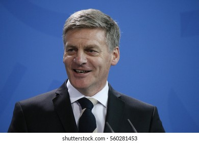 JANUARY 16, 2017 - BERLIN: the Prime Minister of New Zealand Bill English at a press conference after a meeting of the German Chancellor with  in the Chanclery in Berlin.