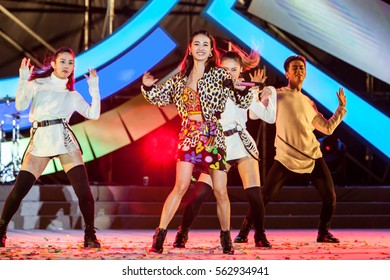 January 17 2017, Taipei Taiwan - ASUS year end party. Singer Jolin performs on stage.