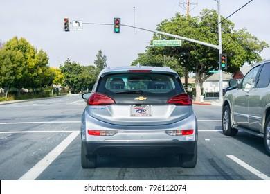 January 17, 2018 Sunnyvale / CA / USA - Chevrolet Bolt EV waiting at a traffic light