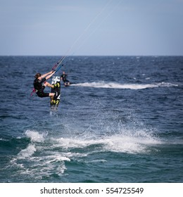 """January 18, 2015.  """"Lord of the Wind Baja"""", Los Barriles, Mexico. A kiteboarder catches air over the Sea of Cortez during an annual kiteboarding competition."""