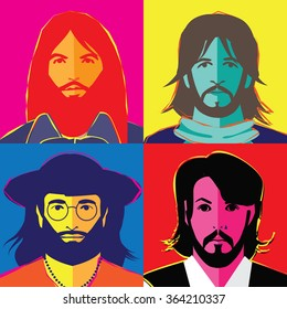 JANUARY 18, 2016: Illustrative editorial pop art style drawing of The Beatles in their hippie stage. George Harrison, Ringo Starr, John Lennon and Paul McCartney.