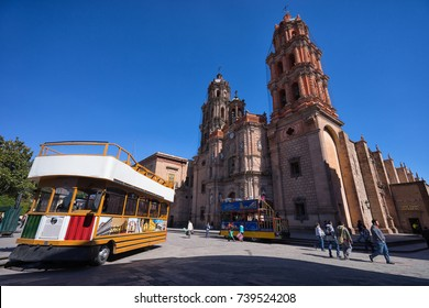 January 18, 2016 San Luis Potosi, Mexico: double decker tourist tour bus in the historic center of the colonial city