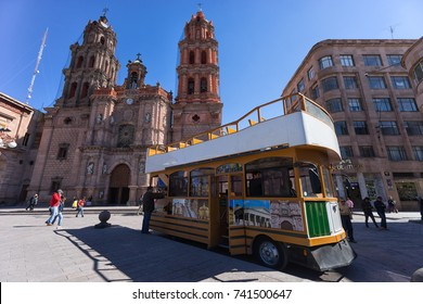 January 18, 2016 San Luis Potosi, Mexico: double deck tourist tour bus in the historic center of the colonial city