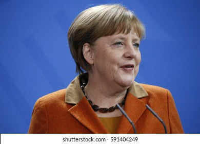 JANUARY 18, 2017 - BERLIN: German Chancellor Angela Merkel at a press conference after a meeting with the Italian Prime Minister in the Chanclery.