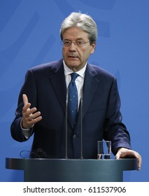 JANUARY 18, 2017 - BERLIN: Italian Prime Minister Paolo Gentiloni at a press conference after a meeting with the German Chancellor in the Chanclery, Berlin.