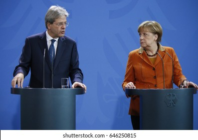 JANUARY 18, 2017 - BERLIN: Italian Prime Minister Paolo Gentiloni, German Chancellor Angela Merkel at a press conference after a meeting in the Chanclery, Berlin.