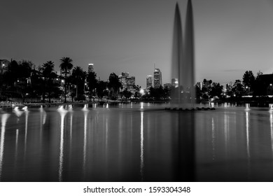 JANUARY 18, 2019 - LOS ANGELES, CALIFORNIA, USA - Echo Park, Los Angeles, California features fountain and water reflections of LA Skyline - black and white