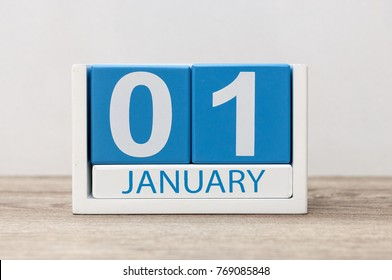 January 1st. Day 1 of january month, calendar on light background. Happy New year, Winter time