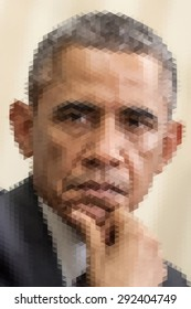 January 20, 2014: Abstract portrait illustration of the President of United States Barack Obama.