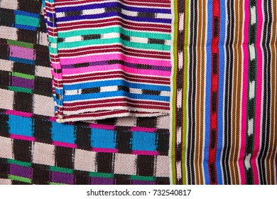 January 20, 2015 San Pedro la Laguna, Guatemala: closeup detail of hand woven maya textiles  characteristic for Tzutujil tradition