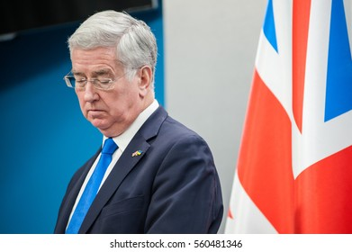 January 20, 2017. Kyiv, Ukraine. Secretary of State for Defence of the United Kingdom Sir Michael Fallon.