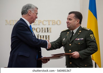 January 20, 2017. Kyiv, Ukraine. Minister of Defence of Ukraine and State Secretary for Defence of the United Kingdom signed the Joint Statement on defence cooperation development.