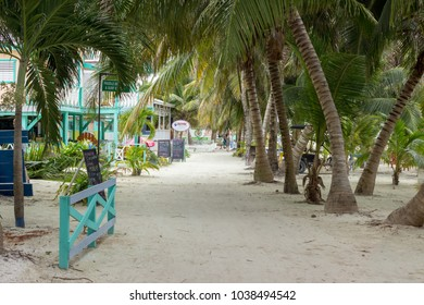 January 20 2018, Caye Caulker, Belize.  Looking North down the street from the water taxi terminal toward The Split.