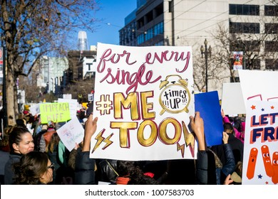 January 20, 2018 San Francisco / CA / USA - Sign displaying the #metoo and #timesup message raised at the Women's March