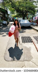 January 20 2018, Thailand, Bangkok, woman on street