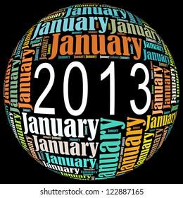 January 2013 info-text graphics arrangement on black background