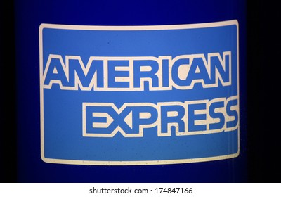 "JANUARY 2014 - BERLIN: the logo of the brand ""American Express"", Berlin."