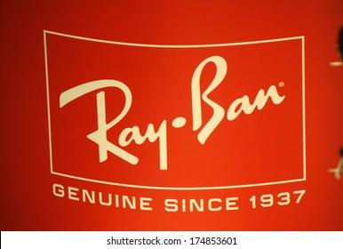 "JANUARY 2014 - BERLIN: the logo of the brand ""Ray Ban"", Berlin."