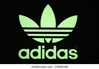 "JANUARY 2014 - BERLIN: the logo of the brand ""Adidas"", Berlin."