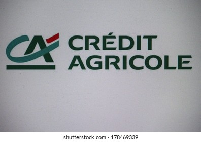 """JANUARY 2014 - BERLIN: the logo of the brand """"Credit Agricole""""."""