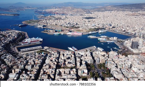 January 2015: Aerial drone bird's eye view of famous port of Peiraeus one of the largest in Europe, Attica, Greece