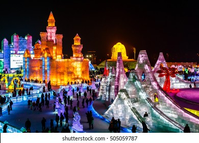 January 2015 - Harbin, China - Ice buildings in the International Ice and Snow Festival