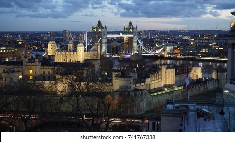 January 2016: Photo from iconic Tower bridge at dusk, London, United Kingdom