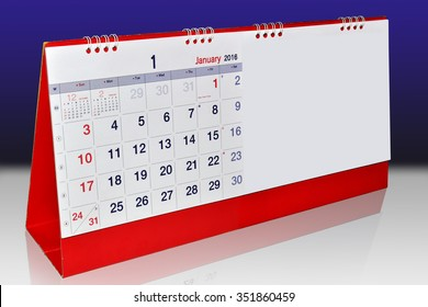 January 2016 planning Calendar. Isolated on Background. This has clipping path.