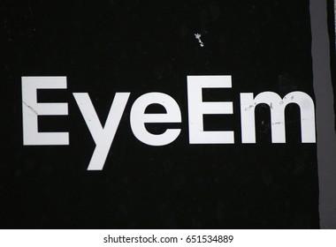 "JANUARY 2017 - BERLIN: the logo of the brand ""Eyeem"", Berlin."