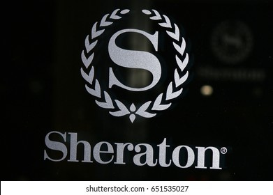 "JANUARY 2017 - BERLIN: the logo of the brand ""Sheraton"", Berlin."