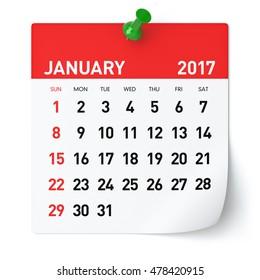 January 2017 - Calendar. Isolated on White Background. 3D Illustration